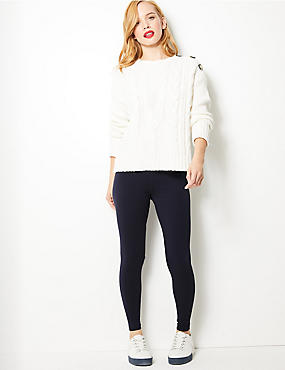 PETITE Cotton Rich Leggings , NAVY, catlanding