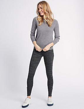 Space Dye Hem Button Leggings, CHARCOAL MIX, catlanding