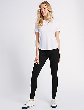 Zipped Leggings, BLACK, catlanding