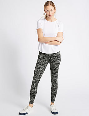 Jacquard Print Leggings, BLACK MIX, catlanding