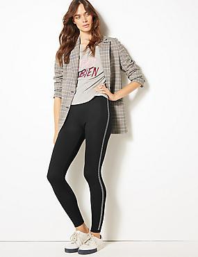 Side Stripe Embellished Leggings, BLACK MIX, catlanding