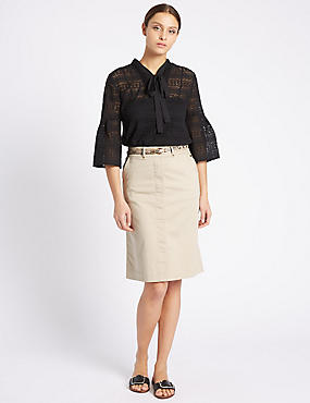 Cotton Rich Straight Midi Skirt with Belt