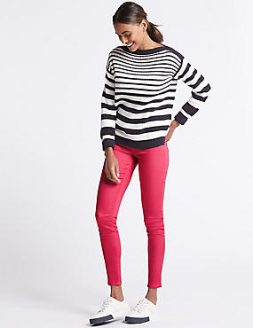 Cotton Rich Jeggings, RASPBERRY, catlanding