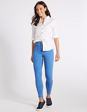 High Waist Super Skinny Jeans, LIGHT BLUE MIX, catlanding