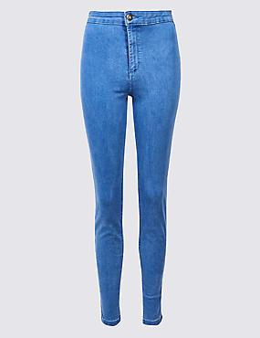 High Waist Super Skinny Jeans, LIGHT BLUE MIX, catlanding