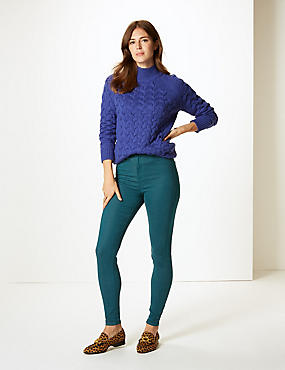 High Waist Super Skinny Jeans, BOTTLE GREEN, catlanding