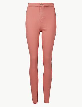High Waist Super Skinny Jeans, TERRACOTTA, catlanding
