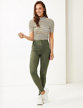 High Waist Super Skinny Jeans, HUNTER GREEN, catlanding