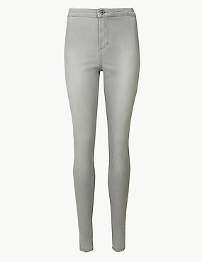 High Waist Super Skinny Jeans, GREY, catlanding