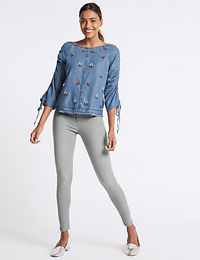 High Waist Super Skinny Jeans, LIGHT GREY, catlanding