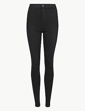 High Waist Super Skinny Jeans, BLACK, catlanding