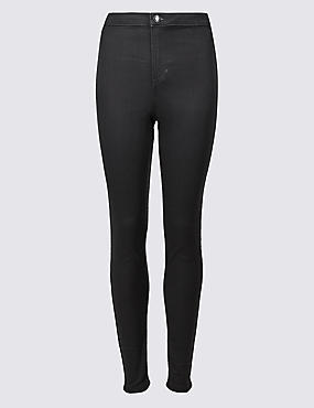 High Waist Super Skinny Jeans, CHARCOAL, catlanding