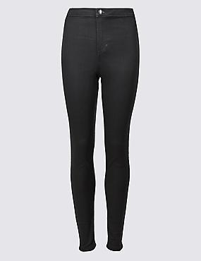High Waist Super Skinny Jeans, CHARCOAL, catlanding