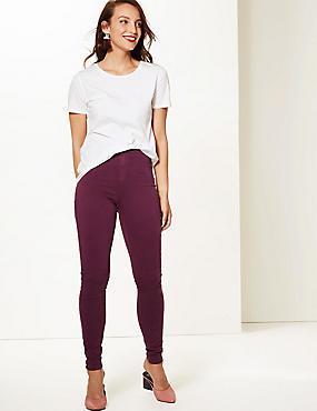 High Waist Super Skinny Jeans, BURGUNDY, catlanding