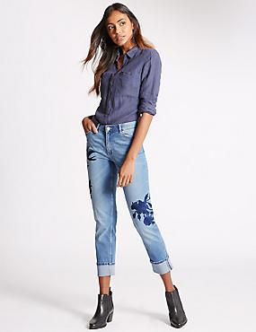 Regular Fit Relaxed Slim Embroidered Jeans