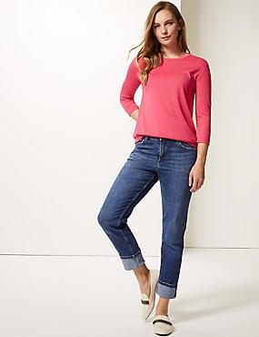 Mid Rise Relaxed Slim Leg Jeans, MED BLUE DENIM, catlanding
