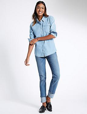 Mid Rise Relaxed Slim Leg Jeans, , catlanding