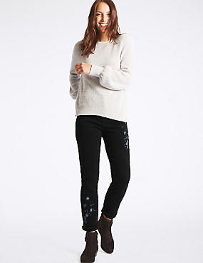 Embroidered Mid Rise Slim Leg Jeans
