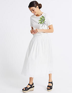 Pure Cotton Embroidered Full Midi Skirt, SOFT WHITE, catlanding