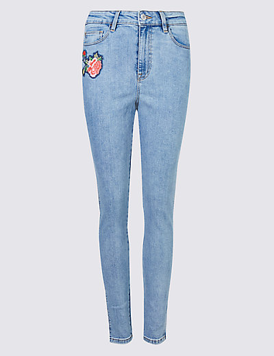 floral embroidered skinny leg jeans mamps