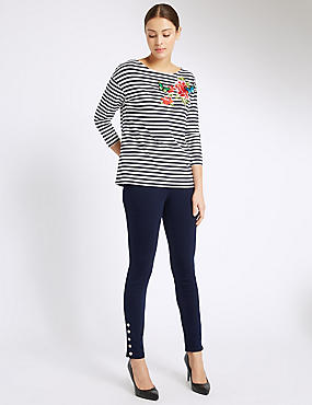 Ankle Button Skinny Leg Jeans