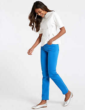 Mid Rise Straight Leg Jeans