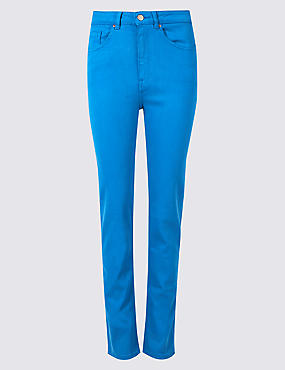 Mid Rise Straight Leg Jeans , BRIGHT BLUE, catlanding