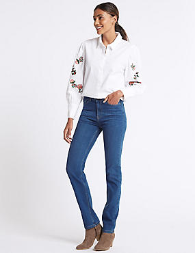 Ozone Mid Rise Straight Leg Jeans, MEDIUM BLUE MIX, catlanding