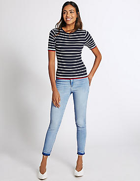 Dropped Hem High Rise Skinny Leg Jeans