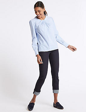 Turn-up Mid Rise Relaxed Slim Jeans, DARK INDIGO MIX, catlanding