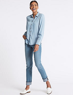 Ripped Mid Rise Relaxed Slim Jeans, , catlanding