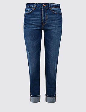 Ripped Mid Rise Relaxed Slim Jeans, DARK BLUE, catlanding