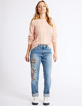 PETITE Embroidered Mid Rise Jeans, INDIGO MIX, catlanding