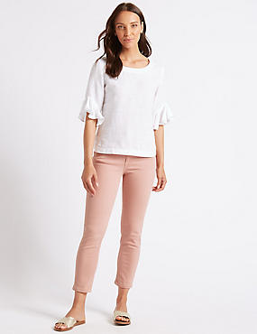 Relaxed Slim Leg Mid Rise Cropped Jeans , SOFT PINK, catlanding