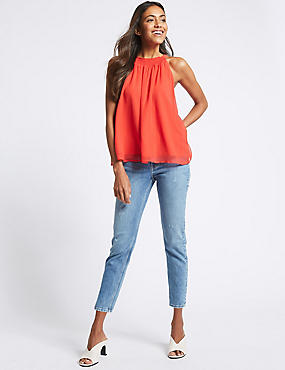 Relaxed Slim Leg Mid Rise Cropped Jeans , MEDIUM BLUE, catlanding