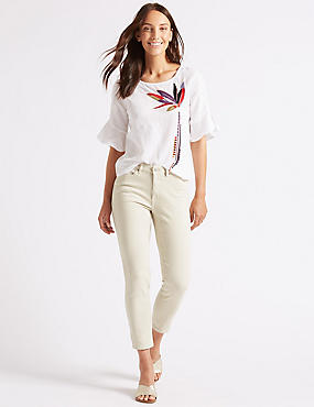 Relaxed Slim Leg Mid Rise Cropped Jeans , NATURAL, catlanding