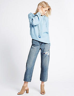 Mid Rise Cropped Straight Leg Jeans