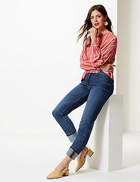 Mid Rise Relaxed Slim Leg Ankle Grazer Jeans, MED BLUE DENIM, catlanding