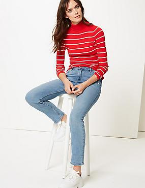 Mid Rise Relaxed Slim Leg Ankle Grazer Jeans, , catlanding