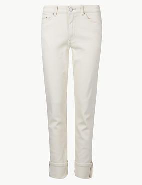 Cotton Rich Relaxed Slim Leg Jeans, ECRU, catlanding