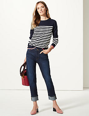 Cotton Rich Relaxed Slim Leg Jeans, DARK INDIGO, catlanding