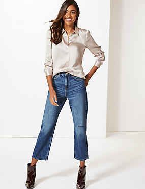 Mid Rise Straight Leg Cropped Jeans, MEDIUM INDIGO, catlanding