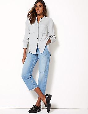 Mid Rise Straight Leg Cropped Jeans, LIGHT INDIGO, catlanding