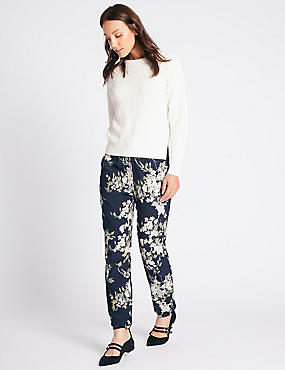 Floral Print Tapered Leg Trousers