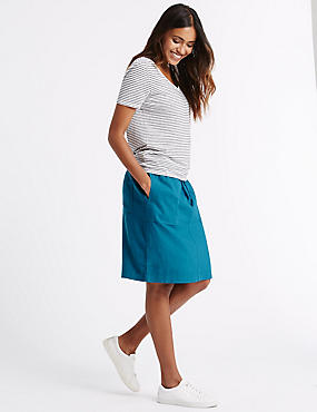 Linen Rich Straight Midi Skirt