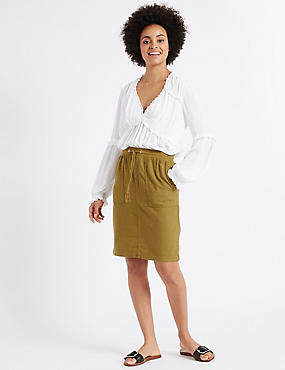 Linen Rich Straight Mini Skirt