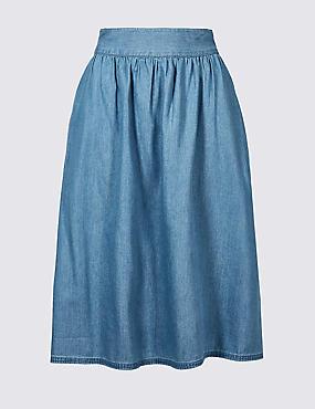 Cotton Rich Full Midi Skirt, INDIGO, catlanding