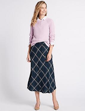 Checked Full Midi Skirt , NAVY MIX, catlanding