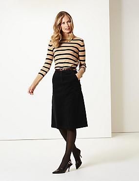 Corduroy Pencil Midi Skirt , BLACK, catlanding
