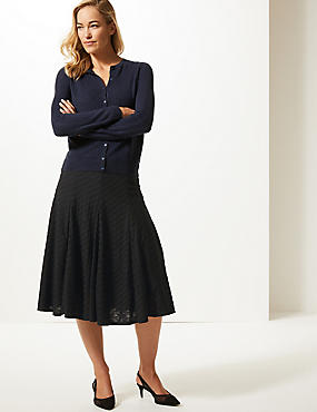 Textured Full Midi Skirt , BLACK, catlanding